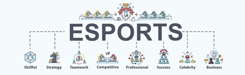 Esports banner web icon for business game and futuristic, Strategy, teamwork, professional, competitive, and success.