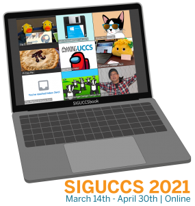 SIGUCCS 2021 Conference Logo, depicting a laptop with zoom window on it with several fanciful characters.